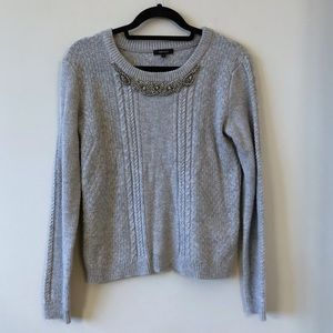 RW&Co Beaded Chunky Knit Grey Sweater-Small